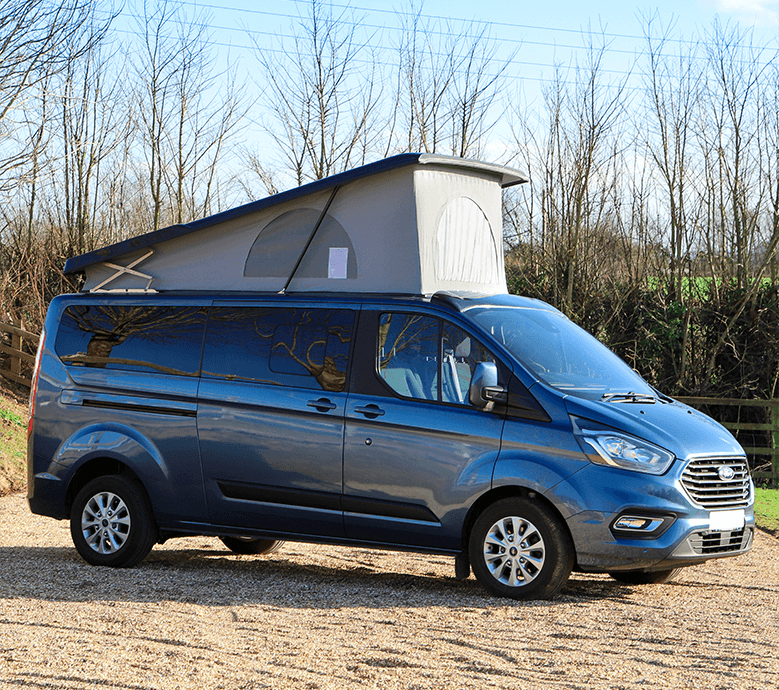 blue long wheel base campervans from side angle