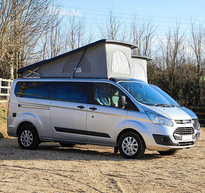 silver long wheel base campervans from angle